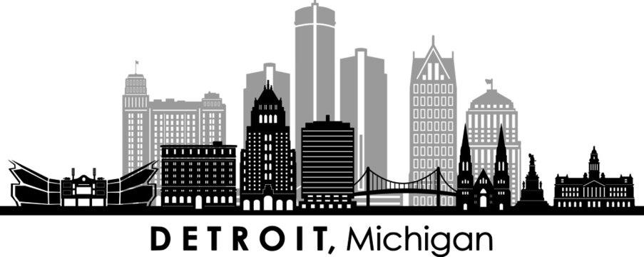 DETROIT Michigan SKYLINE City Silhouette
