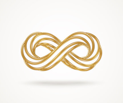Infinity gold symbol isolated on white background. Vector illustration. Endless sign, 3d golden loop, 8 icon logo creative concept design template. Many connected metallic wires.