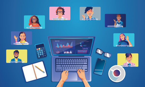 Virtual event People use Video conference landing Working Businessman on window screen taking with colleagues. Videoconferencing and online meeting workspace page, man and woman learning Vector, Flat