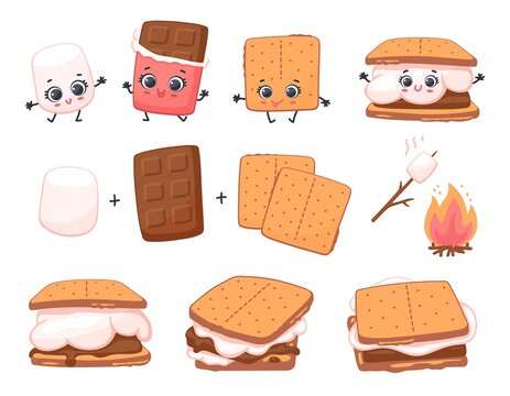 Scheme of smore sweet dessert preparing, cartoon vector illustration isolated.
