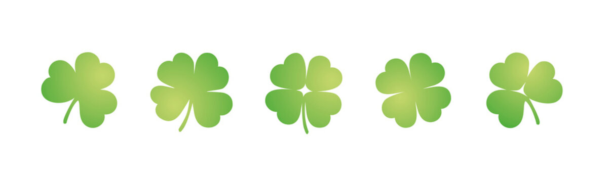 Green three four leaf clovers sample stickers icons for St Patricks Day on isolated white background banner