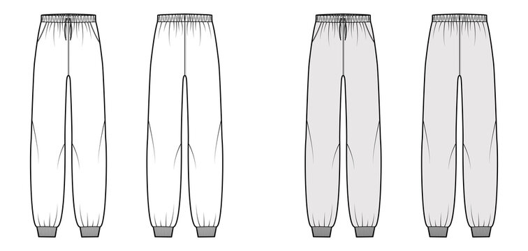 Sweatpants technical fashion illustration with elastic cuffs, low waist, rise, full length, drawstrings. Flat knit training apparel template front, back, white grey color. Women men unisex CAD mockup