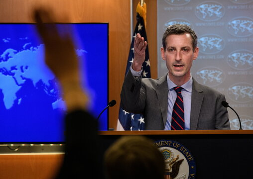 U.S. State Department spokesman Ned Price speaks during daily press briefing at the State Department in Washington