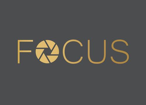 golden word focus with camera shutter  vector illustration