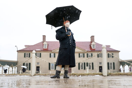 Guests visit George Washington's Mount Vernon Estate on the anniversary of his birthday in Mount Vernon, Virginia