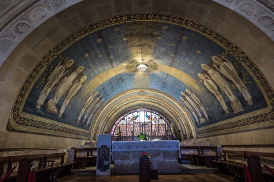 Mount Tabor. Israel. January 27, 2020: Interior of the Transfiguration Church on Mount Tabor