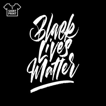 Brush lettering of Black Lives Matter. Hand drawn calligraphy for BLM protest, anti-racist advocacy. Vector illustration