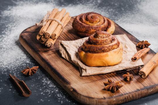 Homemade tasty cinnamon rolls bakery