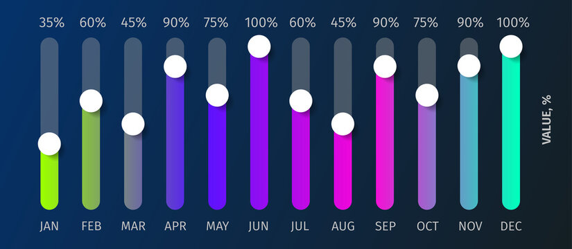 Yearly chart of 12 graphs, vector infographic template for report, presentation in modern glowing bright colors on dark background.