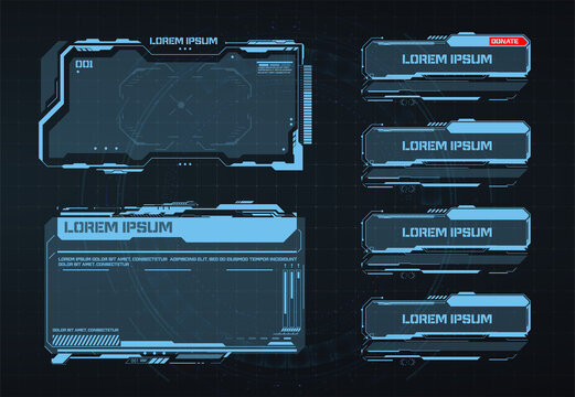Streaming panel overlay design template. Creative HUD futuristic square frame, virtual tech display, element for user interface design.  Vector Illustration