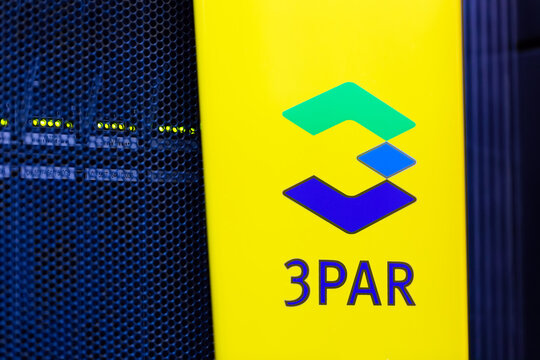 Moscow, Russia - February, 2021: HPE 3PAR logo on a storage rack in Datacenter. The Hewlett Packard Enterprise Company HPE is an American multinational enterprise IT company based in San Jose