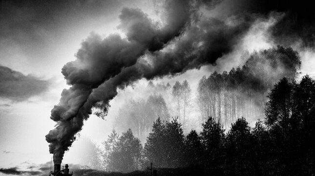 factory smoke covering green forest double exposure global warming climate change