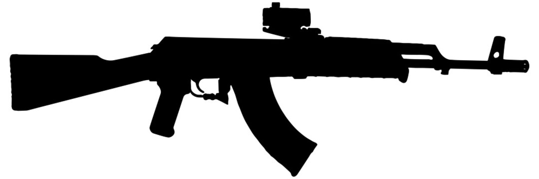 Assault rifle silhouette in black on white background