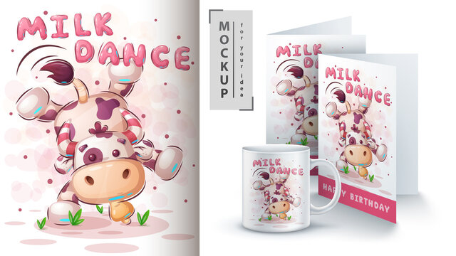 Cow dance - poster and merchandising.