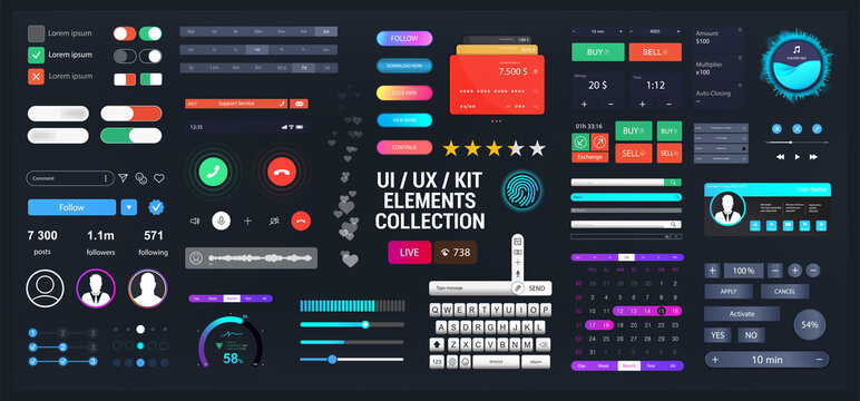Template elements UI, UX, KIT for Web, App and dashboard. Universal User interface for web design or mobile phone application. Vector set - switches, bars, buttons, social media. UI and UX collection