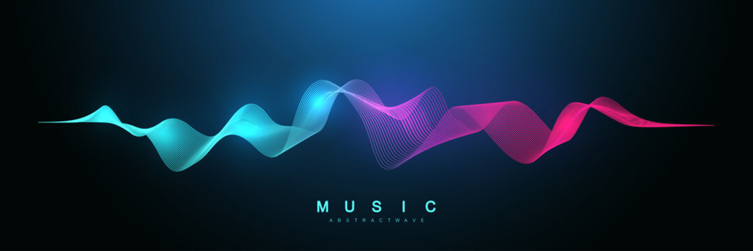 Music abstract background. Music wave poster design. Sound flyer with abstract gradient line waves, vector concept