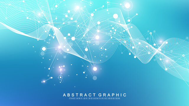 Digits abstract background with connected line and dots, wave flow. Digital neural networks. Network and connection background for your presentation. Graphic polygonal background. Vector illustration