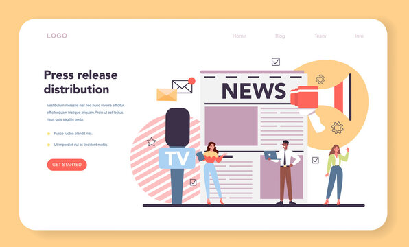 Press release web banner or landing page. Mass media