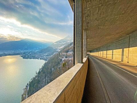 Alpine road gallery between settlements of Weesen and Amden on the slopes of the Churfirsten mountain range - Canton of St. Gallen, Switzerland (Kanton St. Gallen, Schweiz)