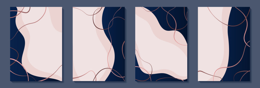 set of Luxury frame border posters with navy geometric shapes, lines, outline pink gold roses. design greeting card of wedding, birthday, Valentine Day, mother day, anniversary, holiday party