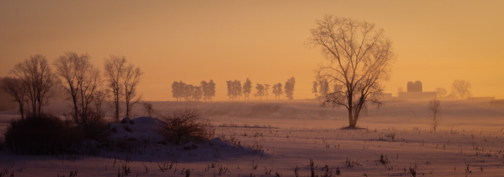 Winter sunrise over farm country