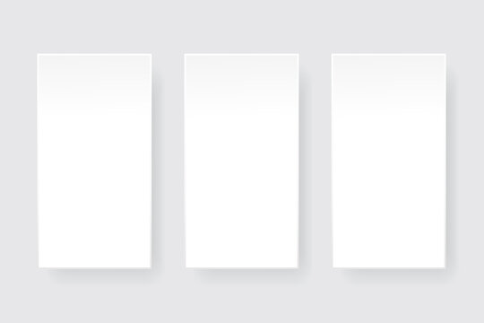 three white rectangles. Vector mock up illustration. Packaging design collection. Stock image. EPS 10.