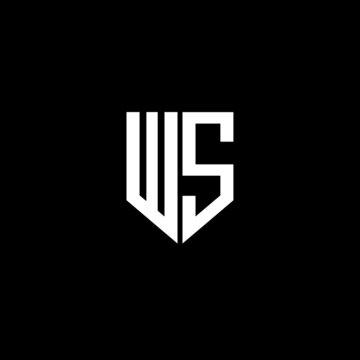 WS letter logo design with black background in illustrator, vector logo modern alphabet font overlap style. calligraphy designs for logo, Poster, Invitation, etc.