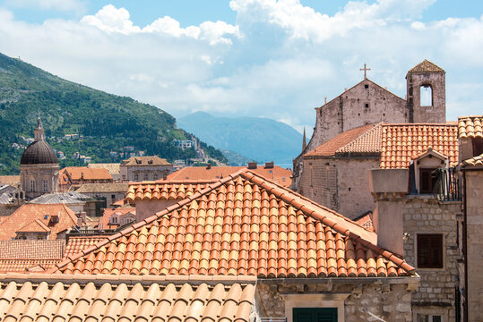 Croatia, Dubrovnik. Walled old city. Dubrovnik Cathedral and St. Ignatius Church.