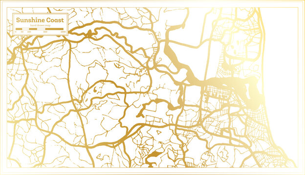 Sunshine Coast Australia City Map in Retro Style in Golden Color. Outline Map.