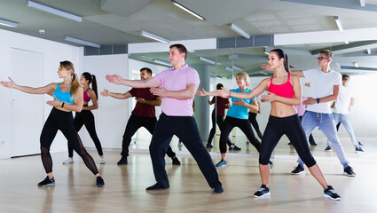 glad men and ladies dancing aerobics at lesson in the dance class
