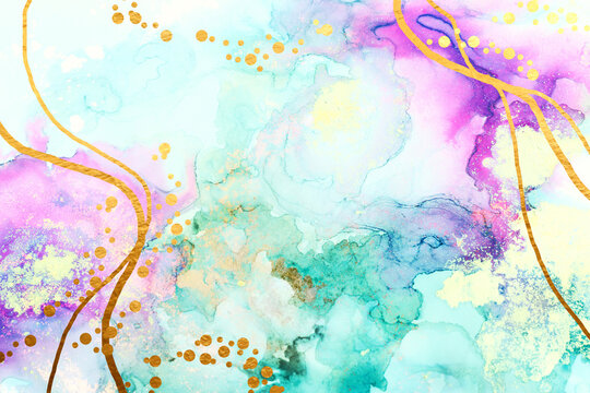 art photography of abstract fluid art painting with alcohol ink, blue, purple and gold colors