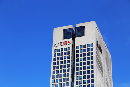 Logo of UBS at the Opernturm in Frankfurt, Germany  UBS Group AG is a major Swiss bank headquartered in Zurich. A branch is located in Frankfurt