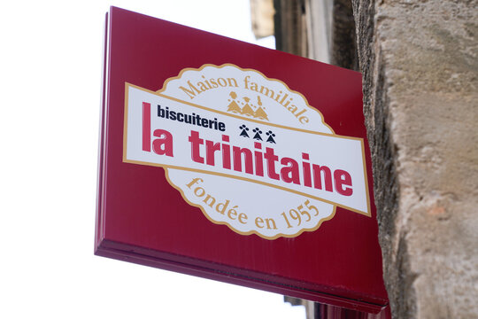 La Trinitaine logo brand and text sign front of shop bakery biscuits and Breton cake specialties from Brittany France