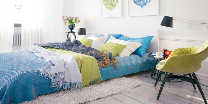 Cosy Summer Colors Bedroom By Daylight - panoramic 3D Visualization