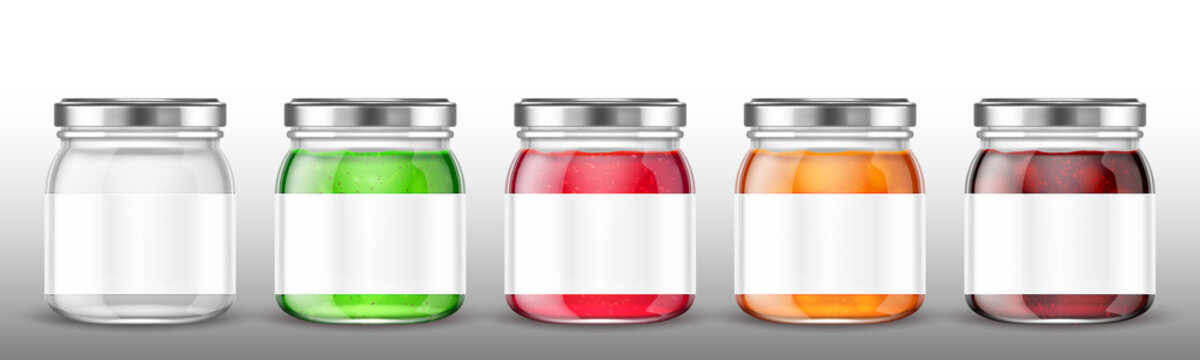 Glass jars with jam and blank label. Vector realistic mockup of clear pots with conserve fruit, jelly and honey. Template of preserve packaging in transparent bottles with steel cap and white label