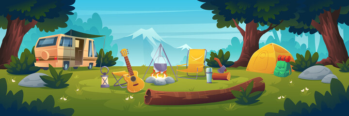 Summer camp at day time. Rv caravan stand at campfire with pot, tent, log, cauldron and guitar on mountain view. Summertime camping, traveling, trip, hiking activities, Cartoon vector illustration