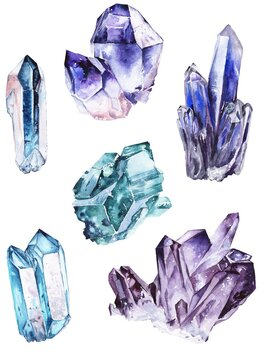 Watercolor illustration. Set of blue and purple crystals. For printing, design, cards