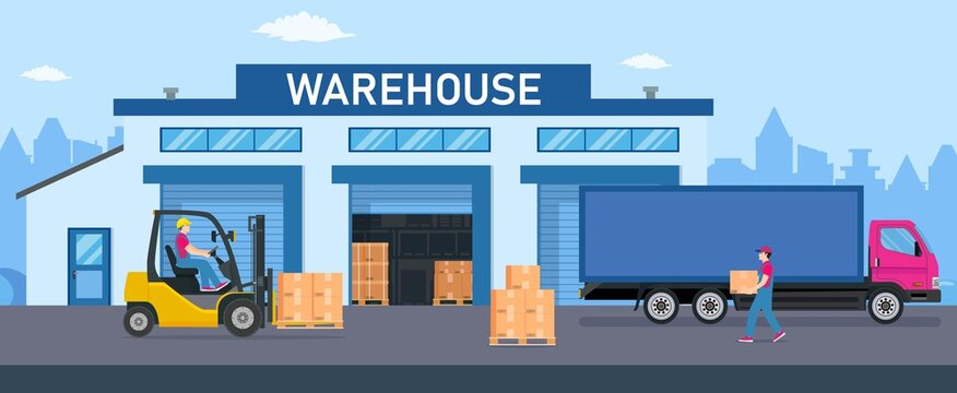 Warehouse industry with storage buildings, trucks, forklift and rack with boxes. Distribution logistic and cargo delivery concept. Vector illustration in flat style