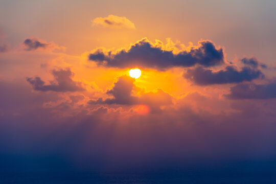 Sunset over Dodecanese islands in Mediterranean sea, Greece