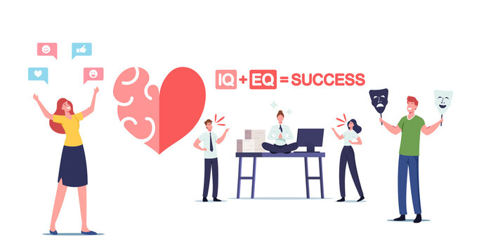 Iq and Eq Concept. Male or Female Characters Show Empathy, Emotional Intelligence Concept. Communication Skills