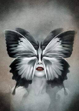 Photo manipulation. Surreal concept butterfly woman. Dark art wallpaper.