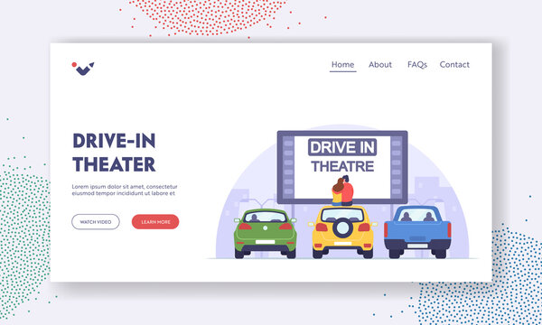 Couple Dating at Car Cinema, Romantic Relation Landing Page Template. Man and Woman Sit on Auto Roof Watch Movie