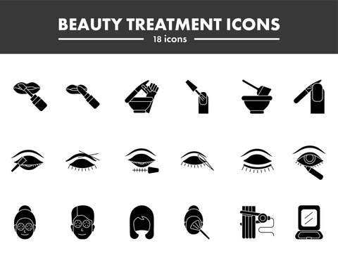 Glyph Style Beauty Treatment Icons Or Symbol Set.