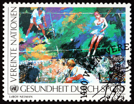 Postage stamp United Nations 1988 tennis