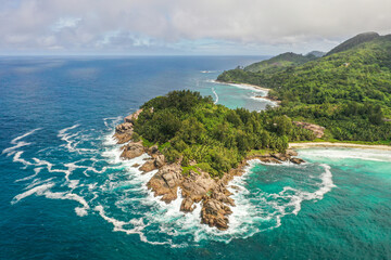 Aerial view of the south coast of Mahé, Seychelles. Wall mural