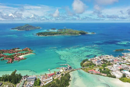 Aerial view of the St.Anne Marine National Park, Mahé, Seychelles.
