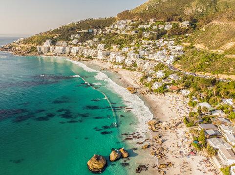 Aerial view of beach goers at Clfiton Beach a Bue Flag beach, Cape Town, South Africa.