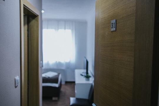 BRCKO, BOSNIA AND HERZEGOVINA - Feb 16, 2021: Door of hotel room with number