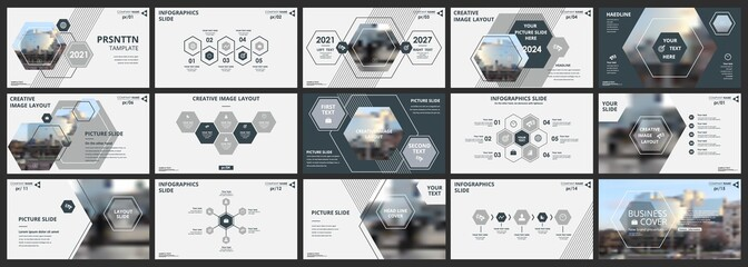 Abstract white, gray slides. Brochure cover design. Fancy info banner frame. Creative set of infographic elements. Urban. Title sheet model set. Modern vector. Presentation templates, corporate. - fototapety na wymiar