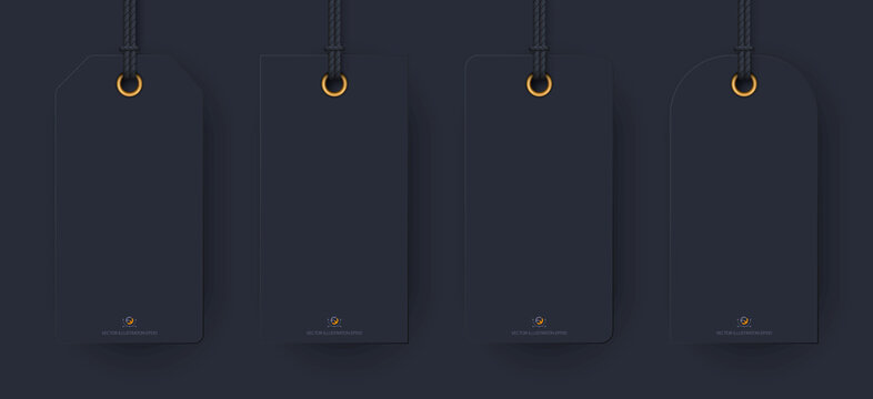 Realistic tag mockup: black tags labels for your design. isolated on light transparent background. Vector illustration EPS 10.
